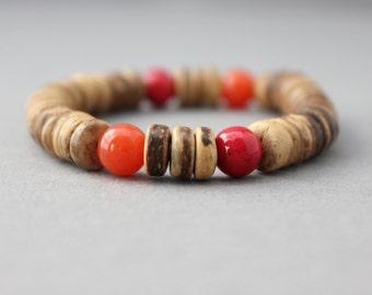 orange and pink bracelet chunky bracelet boho beach coconut wood bracelet tropical