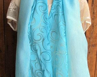 Aqua Curl Pattern Chiffon and Plain Habotai Scarf Set, Solid Turquoise Blue Silk Scarf, Robin's Egg Blue Scarf, Blue Handpainted Silk Scarf