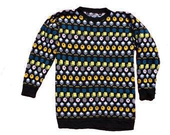 Vintage Knitted Sweater - Liquorice Allsorts Jumper - Candy Patterned - Retro Novelty - Wool