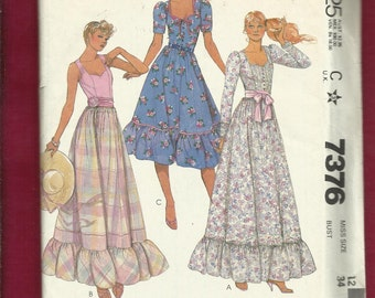 Vintage 1980 McCalls 7376 Prairie Chic Dresses Evening & Dancing Lengths with Sweetheart Necklines and Ruffled Tier Size 12 UNCUT