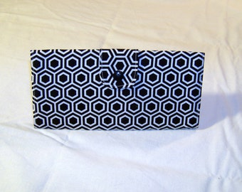 Black and White Honeycomb Hexagon Long Clutch Trifold Purse Wallet #077