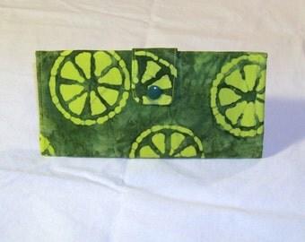 Green Batik Limes Long Clutch Trifold Purse Wallet #067