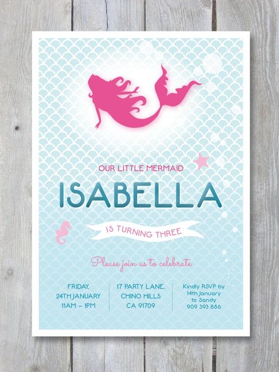 Mermaid birthday party invitation mermaid printable personalized il570xn stopboris Image collections