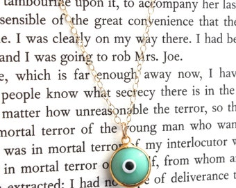 Evil Eye Mint Green Charm Necklace