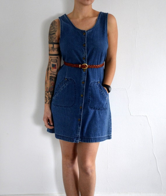 SALE Vintage Button up the Front Blue Jean Denim Hipster Tank Dress