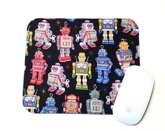 Robot Mouse Pad / Vintage Space Decor / Home Office Decor / Vintage Retro Tin Toy / Rectangular Mousepad