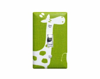 Giraffe Light Switch Cover / Baby Nursery Lime Green Wall Decor / Switchplate / Girl Boy Unisex Chartreuse Premier Prints Gisella Twill