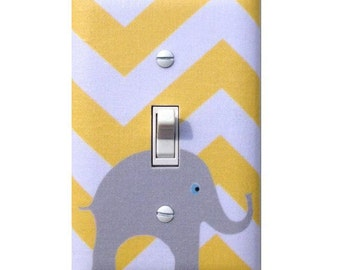 Elephant Switchplate Gray and Yellow Chevron Light Switch Plate / Baby Nursery Decor Gender Neutral Switchplate / Slightly Smitten Kitten