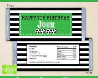Soccer Chocolate Bar Wrappers - Soccer Candy Bar Wrapper - Printable Candy Bar Wrapper - DIY Wrappers - Soccer Party Printables