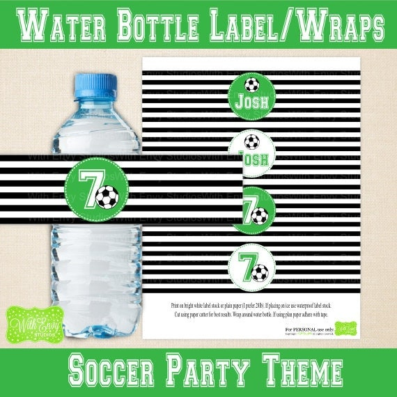 Personalized Sports Bottle Labels: Printable Water Bottle Wraps