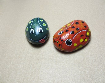 Orange and Green Frog Pet Rocks