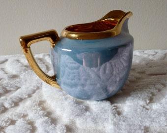 40's Blue Lusterware Creamer Ceramic Gold Art Deco Tea Set Japan