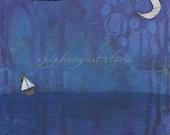 "8"" x 10"" Poetry Painting Word Art - ""Soul at Sea"" - Fine Art Print - Sailboat, Purple Blue, Sailing Ocean Waves Sea Water, Moon Night Sky"