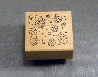 Ladybug Background Rubber Stamp