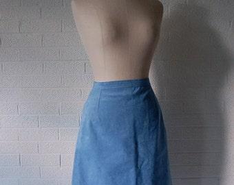 Vintage Powder Blue Knee Length Suede Pencil Skirt, 6/8