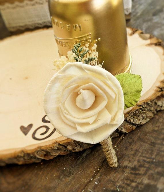 Ivory Boutonniere Made to Order- Groom Wedding, Buttonhole, Groomsmen, Sola Flower, Wedding, Wedding Flowers