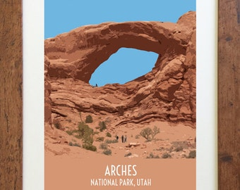 Arches National Park Utah Travel Poster – Vintage Style, Digital Download – 11 x 14 or 8 x 10