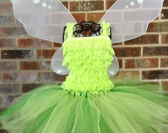 Tinkerbell Inspired Tutu Set - Tinkerbell Costume with Wings -  Size 2T thru 5T - READY TO SHIP