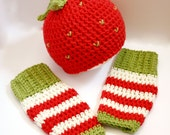 Red Strawberry Crochet Beanie and Leg Warmers Set, Baby Beanie Hat set, Newborn - 12 Months, Great Photoprop, MADE to ORDER