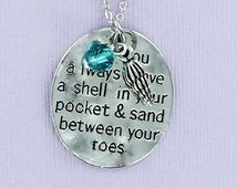 BEACH POEM with Swarovski Crystal and Shell Charm - Pewter Charm on a FREE Plated Chain