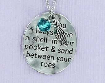 BEACH POEM Necklace with Swarovski Crystal and Shell Charm - Pewter Charm on a FREE Plated Chain