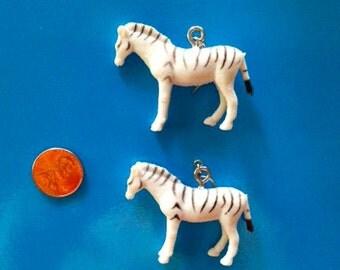 Vintage Zebra Toy Earrings / Retro Dangle Style