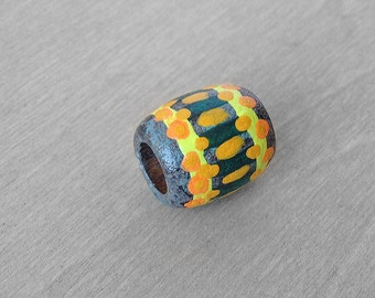 Small Wooden Dreadlock Bead Tribal Hair Bead - Wood Hand Painted Small Dread Bead - 5mm hole