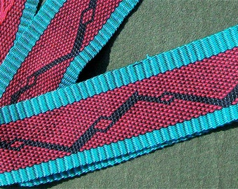 Handwoven Red and Teal Snaked Diamond Patterned Scarf