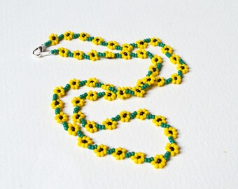 Beaded Sunflower Necklace. Seed Bead Flower Necklace, Sunflower Jewelry, UK Seller