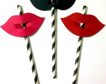 Mustache and Lips Straw Toppers