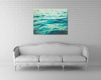 Water Canvas Photograph, Teal Green Decor, Aqua Blue Canvas Art, Large Ocean Photography, Bathroom Art Decor