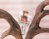 Oh deer!- miniature deer and mushroom globe ring