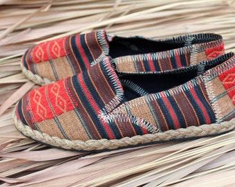 Tribal Womens Vegan Shoe Slip on Loafer In Ethnic Naga Textiles- Morgan