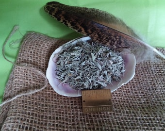 Smudg Kit, Pure Natural Sage, Comes to you packed in a 4x6in Burlap Bag with Sea Shell  Bowl and Smudging Feather, Remove Negativity