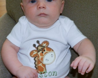 Personalized Giraffe Shirt or Bodysuit