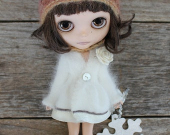 For Blythe. Winter White  Pure Angora Cardigan/Dress with collar & Socks