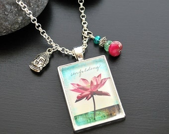 Lotus Pendant Necklace with Buddha Charm Buddha Jewelry FREE Shipping