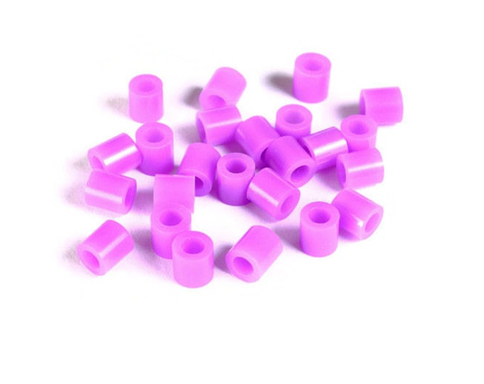 5mm purple mauve violet tube acrylic beads - large hole - Hama beads - Fuse beads (1467) - Flat rate shipping