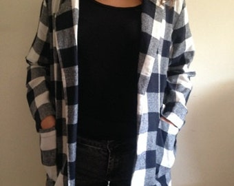 Black and White Picnic-Styled Coat Size Large with Two Front Pockets