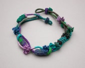 Fiber statement necklace, hand wrapped and knitted jewelry with bamboo beads, purple lilac blue green, OOAK