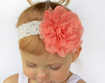 Pale Coral Vintage Lacey Rose Baby Headband - Baby Girl Plush Coral Lace Hair Bow