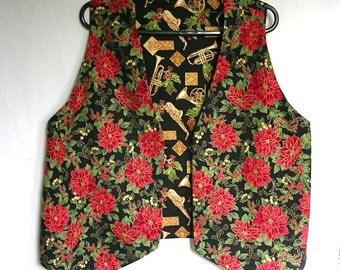 Poinsettia Christmas Vest Musical Instruments Reverse Ladies Large