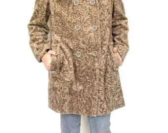 Vintage 60s women's mod faux curly lamb pea coat size medium