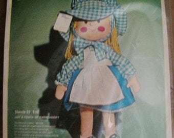 Bucilla Kit Gingham Girl Doll Unopened 23 Inches Tall kit 1916 Needlecraft