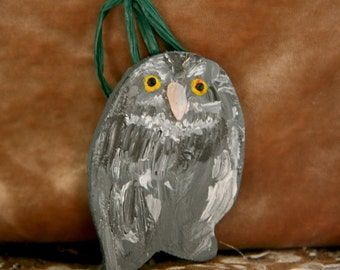 Wooden Little Grey Owl Christmas Tree Decoration