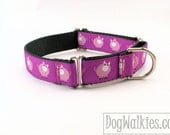 "Little Piggies Dog Collar - 1"" (25mm) Wide - Martingale Dog Collar or Quick Release dog collar // your choice of style and size"