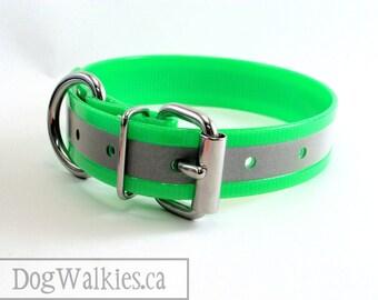 "Bright Neon Apple Green // Reflective Biothane Dog Collar // Adjustable Buckle // Custom Size // 1"" - 25mm Wide"