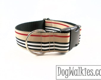"""Charleston Blvd Stripes Dog Collar - 1.5""""(38mm) Wide - Tan Red Black White Stripes - Martingale or Side Release - Choice of style and size"""