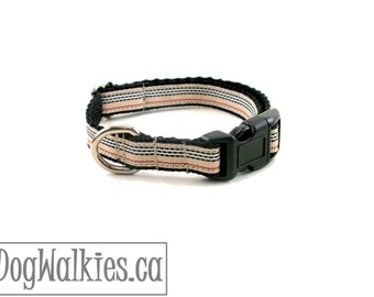 "Charleston Blvd Stripe Dog Collar - 1/2"" Wide (12mm) - Tan Red Black White Stripes - Martingale or Quick Release - Choice of style and size"