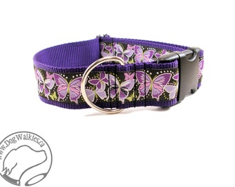 "Deep Purple Butterflies Wide Dog Collar - 1.5"" (38mm) wide - Quick Release or Martingale Dog Collars - Choice of collar style and size"